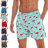 coskefy Badehose Für Herren Badeshorts Jungen Schwimmhose Schnelltrocknend Kurz Beachshorts Boardshorts Strand Shorts Sporthose mit Mesh-Futter Tunnelzug(Flamingo,S(EU)-MarkeGröße L)