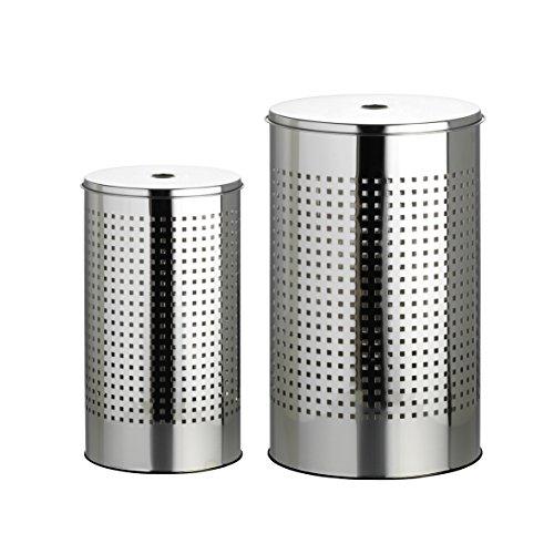 Wäschekorb Wäschetonnen Set 2er - 1 x 35 Liter + 1 x 55 Liter Wäschesammler Wäschesortierer Wäschebehälter in 3 (Chrom)