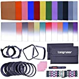 Longruner Complete 24 Pieces Square Filter Sets Filters Kit Compatible with Cokin P Series Bundle with Filter Holder Adaptor Ring Lens Hood Cleaner Strap for DSLR Cameras