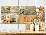 GRAZDesign Fliesenaufkleber Bad - Fliesen zum Aufkleben Muscheln Sand und Strand | Fliesen mit Fliesenbildern überkleben | 10 Motive | Selbstklebende Folie für Badezimmer (15x15cm // Set 10 Stück)