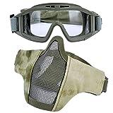 Airsoft Maske, Kapmore Mesh Gesicht Schädel Maske Airsoft Halbmaske Ausrüstung Stahl Airsoft Masken (Goggle + Mask( Camouflage))