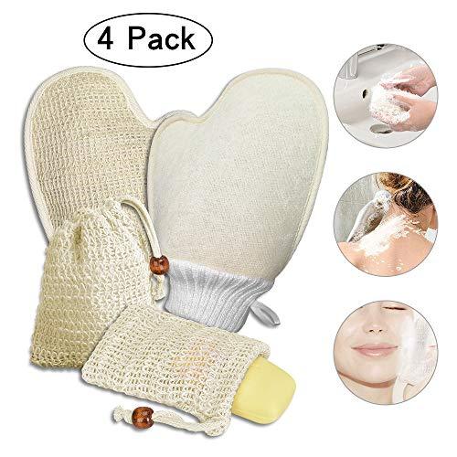 4x Seifensäckchen Bio und Badhandschuhe, Seifensäckchen Sisal, Seifenbeutel Natur, Peeling, Massage Handschuhe Seifentasche für Aufschäumen und Trocknen der Seife!