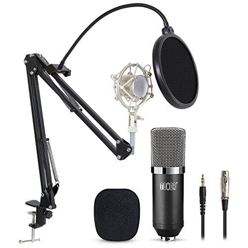 Tonor XLR zu 3.5 mm Kondensator-Mikrofon Kit Schall Podcast Studio Rundfunk & Aufnahme Microphone für Computer mit Popschutz und Verstellbarem Mikrofonhalter Mikrofonarm Mikrofonständer & Mikrofon Sets Schwarz