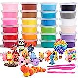 Modelliermasse, 24 Farben Air Dry Clay Kinder, Super Light Magic Clay mit Modellierwerkzeugen und Projekt, No-Sticky und ungiftig