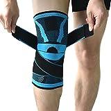 Kompressions-Kniebandage mit rutschfestem, einstellbarem Druck-Riemen, Knieschutz fürs Laufen, für den Sport, zur Schmerzlinderung von Kniescheibe und Gelenk, bei Arthritis, zur Rehabilitationnach Verletzungen–1 Stück L blau