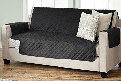 Sesselschoner Sofaschoner Sesselschutz Sofaüberwurf (3-Sitzer 191 x 279 cm, schwarz/anthrazit)