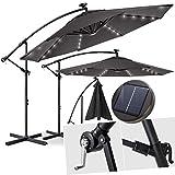 Kesser Alu Ampelschirm Ø 300 cmLED mit An-/Ausschalter Solarpanel  Kurbelvorrichtung UV-Schutz Aluminium Wasserabweisende Bespannung - Sonnenschirm Schirm Gartenschirm Marktschirm Grau