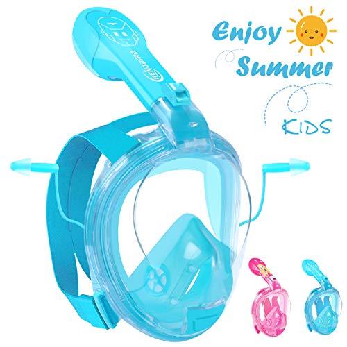 HENGBIRD Tauchmaske Vollgesichtsmaske mit Antibeschlag Antileckage Schnorchelmaske Tauchermaske für Kinder (Blau)