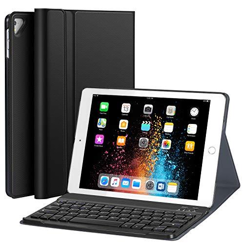 Earto Tastatur Hülle 9.7 kompatibel mit iPad 2018(6. Gen.), 2017 iPad (5. Gen.), iPad Pro 9.7, iPad Air2/iPad Air Magnetische Abnehmbare Tastatur -Ultra Dünnes PU-Leder Standfunktion DEUTSCHES QWERTZ