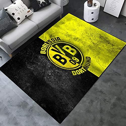 INSTUS Teppich Creative Einfach Kunst Dekoration Teppich Fußball Verein Logo Drucken Rutschfeste Matte Geeignet für Restaurants Wohnzimmer Schlafzimmer / Dortmund2 / 140 * 200cm