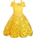 Alead Prinzessin Kostüm Belle Kleid und Zubehör, Handschuhe, Diadem, Zauberstab und Halskette (6-7Jahren)