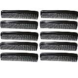 COM-FOUR 10x Kamm mit unterschiedlichen Kammstärken, Taschenkamm in schwarz (10 Stück - schwarz)