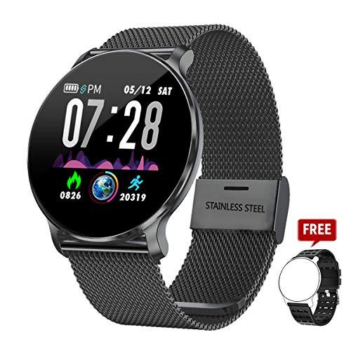 TagoBee TB11 IP68 Waterproof SmartWatch Fitness Tracker Benachrichtigungen Anruferinnerung kompatibel mit Android und IOS(Schwarzes)