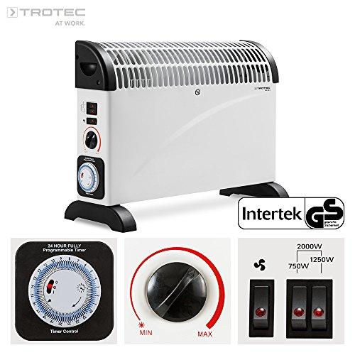 TROTEC 1410000515 TCH 22 E Heizgerät mit Frostwächter stufenloser Thermosteuerung 2000 W Konvektor Heizer Radiator Elektrische Heizung Elektroheizung, inkl. Turbogebläse und 24 St. Zeitschaltuhr