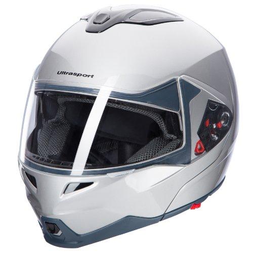 Ultrasport Motorrad-Integralhelm IH-1, Silber, Größe M