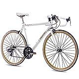 CHRISSON 28' RENNRAD URBANRAD Fahrrad Vintage Road 1.0 mit 14G Shimano Retro Look Weiss matt (53)