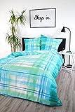Seersucker Bettwäsche 'Watercolor' 100% Baumwolle Sommerbettwäsche verschiedene Farben/Größen (135 x 200 cm, Blau)