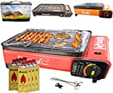 Camping BBQ Gasgrill Gasbräter Grill Tragbar Barbecue Tischgrill inkl. Grillplatte Grillaufsatz + Grillrost + Spieße + 8x Gaskartuschen + Tragkoffer (Farbe: Schwarz, Rot oder Orang)