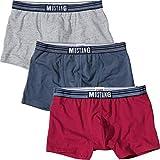 MUSTANG Herren-Pants 3er-Pack Single-Jersey rot/Rauchblau/hellgrau-meliert Größe L