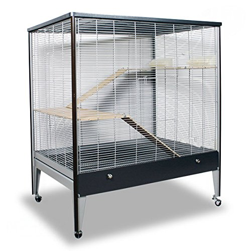 Montana Cages | Riesige Nagervoliere Happy Home 99A - Platinum/Oak Nagerkäfig für Maus & Co.