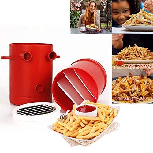 Kupferner Fischrogen-Kartoffel-Hersteller-Schneidemaschinen-Pommes-Frites-Hersteller für Seiten-Fischrogen-Schneider-Maschine u. Mikrowellenbehälter 2-in-1 kein frittieren