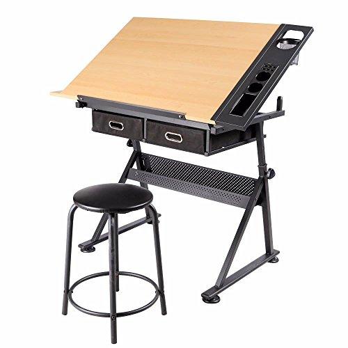 Yahee Zeichentisch Schreibtisch Arbeitstisch Bürotisch, mit 2 Schubladen höhenverstellbar
