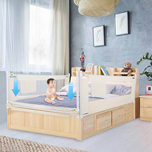 Bettgitter, 150/180/200cm Klappbares Bettgitter Verstellbare Bettschutzgitter Kinderbettgitter Babybettgitter für Rausfallschutz (150CM)