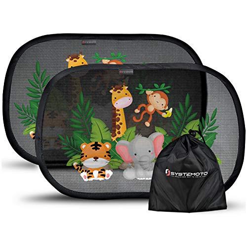 Systemoto Sonnenschutz Auto Baby mit Zertifiziertem UV Schutz (2er Set) - Selbsthaftende Sonnenblenden für Kinder mit süßen Tier Motiven (Wild Life)
