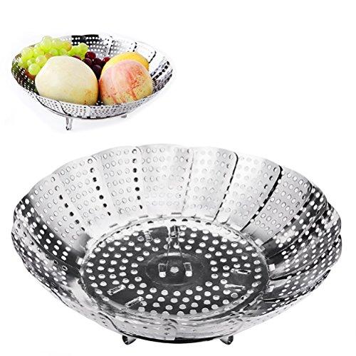 Vicloon Gemüsedämpfer mit Dünsteinsatz aus Edelstahl, Dampfgar-Einsatz Faltbar Dämpfkorb für Gemüse, Kochtöpfe und verschiedenes Kochen