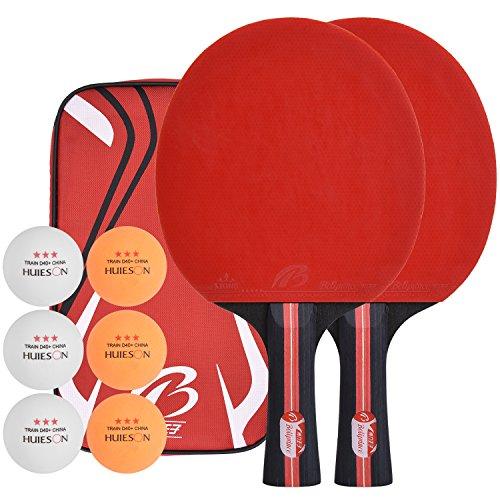 Lynlon Tischtennisschläger mit 6 Bälle   Tischtennis Set mit 6 Tischtennis-Bälle