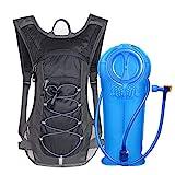 Unigear Trinkrucksack Hydrationspack mit 2L Trinkblase Fahrradrucksack für Joggen, Wandern, Radfahren, Camping und Bergsteig (Grau&Schwarz+2L Trinkblase)