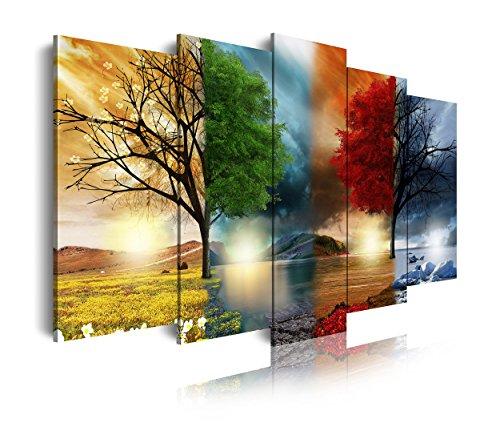DekoArte modernes Wandbild 5-teilig mit Design Natur vier Jahreszeiten, Stoff, mehrfarbig, 150x 3x 80cm