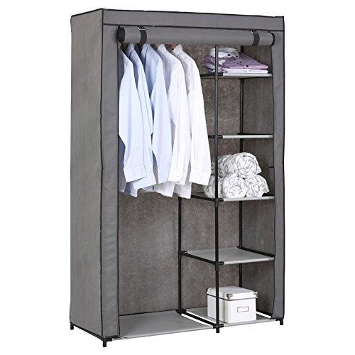 Stoffkleiderschrank Kellerregal Standregal TANJA, mit 5 Regalfächern und Kleiderstange, inkl. Schutzhülle in grau