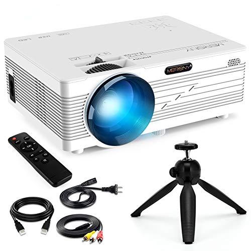 Merisny Mini Beamer mit Halterung,2400 Lumen LCD Video Projektor mit max 176' Display, unterstützt 1080P Full HD,Kompatibel mit Fire TV Stick HDMI VGA USB AV TF für Smartphone Laptop