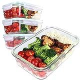 4er Set Frischhaltedosen aus Glas mit Deckel, 820 ml Füllvolumen, ideal für Food Prepping von Obst, Fleisch, Gemüse und Suppen, Spülmaschinen, Gefrierschrank und Ofenfest, BPA frei