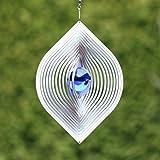 Edelstahl Windspiel 'BLATT'mit 35 mm Farbglaskugel - Blau - absolut Wetterfest-