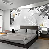 murando - Fototapete Blumen 400x280 cm - Vlies Tapete - Moderne Wanddeko - Design Tapete - Wandtapete - Wand Dekoration - Blume weiß grau silber Orchidee Ornament Abstrakt b-A-0078-a-b