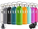 Super Sparrow Trinkflasche Edelstahl Wasserflasche - 750ml - Isolier Flasche mit 100%-Zufriedenheitsgarantie | Perfekte Thermosflasche für das Laufen, Fitness, Yoga, Im Freien und Camping, Auto oder Unterwegs | Frei von BPA | Ideal als Wasser- & Sportflasche - mit 2 auswechselbaren Kappen (Apfelgrün, 25oz-750ml)