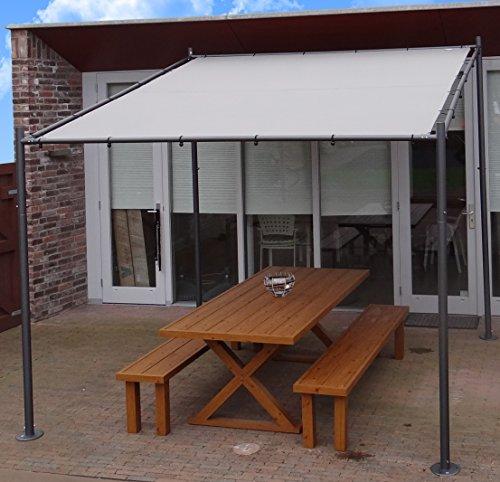 Pavillon | Grau / Sand | 285 x 220 x 310 x 295 cm (HxHxLxB)| SORARA | 250 g/m² Polyester (UV 50+)| für Garten, Patio, Outdoor