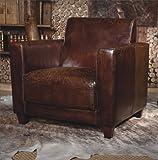 Echtleder Vintage Sessel Ledersessel Braun Antik Design Lounge Retro Sofa Möbel NEU 441