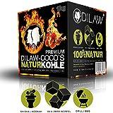 DILAW Shisha Kohle | 1KG 64 Würfel | Größe 26er Cubes | Premium Kokosnuss Naturkohle bis zu 120 Minuten Brenndauer