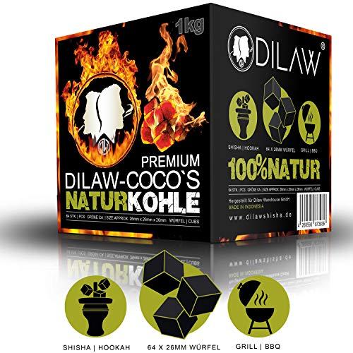 DILAW Shisha Kohle   1KG 64 Würfel   Größe 26er Cubes   Premium Kokosnuss Naturkohle bis zu 120 Minuten Brenndauer