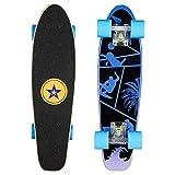 NAVESTAR Mini Cruiser Skateboard mit 7 Lagen Ahornholz Deck und 82A PU-Rollen, kann 100kg tragen, geeignet für Kinder, Jugendliche und Erwachsen, ideal für Park und Street