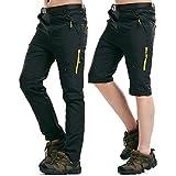 Rmine Trekkinghose Zip Off Atmungsaktiv Wanderhose Outdoor Hose Entfernbar Schnell Trockend (Mit Gürtel) (Schwarz, XL)