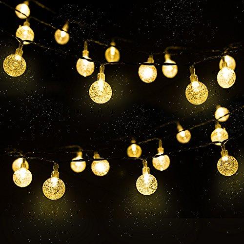 LED Solar Lichterkette Kristall Kugeln 4.5 Meter 30er Warmweiß, Mr.Twinklelight Außerlichterkette Deko für für Garten, Bäume, Terrasse, Weihnachten, Hochzeiten, Partys, Innen, Der abstand zwischen zwei leuchten 10 CM. [Energieklasse A++]