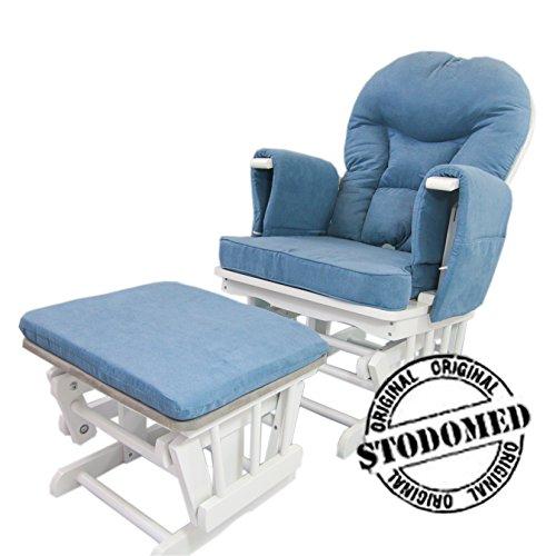 STODOMED Glider Stillstuhl Schaukelstuhl + Hocker mit Schaukelfunktion verstellbare Lehne + Polster in BLAU Relaxstuhl TV Sessel