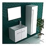 bad1a Badmöbel Set mit Waschbecken aus Mineralguss, Unterschrank und Design-Spiegel mit Softclose-Funktion/Farbe Hochglanz weiß