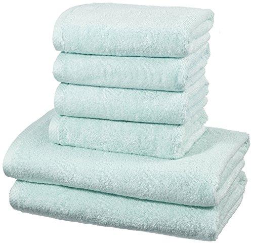 AmazonBasics - Handtuch-Set, schnelltrocknend, 2 Badetücher und 4 Handtücher - Eisblau, 100% Baumwolle