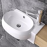 Design Hängewaschbecken Brüssel001L, aus Keramik inkl. NANO-Versiegelung, Wandmontage, Waschbecken,