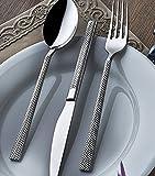 OLINDA Besteck Set, 18/10 Edelstahl 24-TLG. Besteckset inklusive Messer/Gabel/Löffel/Teelöffel, Echt-Edelstahl mit einzigartigem, schweren Geschirr, Service für 6 Personen
